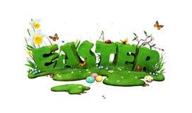 Pasqua segna l'isolamento con lettere illustrazione vettoriale