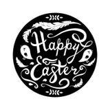 Pasqua sveglia che segna frase con lettere con gli uccelli, le erbe e le piume nel cerchio isolato su fondo bianco Per disegnato  royalty illustrazione gratis
