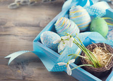 pasqua Uova blu variopinte e fiori di bucaneve della molla Fotografia Stock