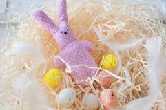 Pasqua, uova, uova del pollo, ha colorato le uova, fieno, uova bianche, Pasqua, festa, lepre del giocattolo, rosa, piselli, conig Fotografia Stock Libera da Diritti