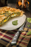 Pasqualina cake - tart , italian receipt. TORTA PASQUALINA . This Easter cake, usually salty,  and during the whole year as very light and healthy aliment Stock Images