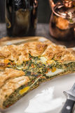Pasqualina cake - tart , italian receipt. TORTA PASQUALINA . This Easter cake, usually salty,  and during the whole year as very light and healthy aliment Stock Photo