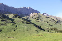 The pass of Aravis. Famous pass at the heart of the Alps Stock Image