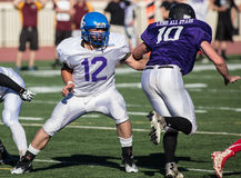 Pass Blocking. NORCAL Lions Club All Star Football Team action in Oroville, California Stock Photos