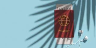 Pass, Bordkarte, Flugschein auf Tischplatteansicht Palmenschatten Minimalismuskonzept des Reisens 3d Lizenzfreie Stockfotos