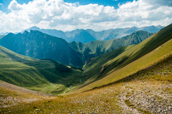 The pass. Caucasian mountain panorama from the pass Royalty Free Stock Images