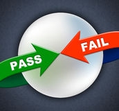 Pass Fail Arrows Shows Ratified Failure And Passed. Pass Fail Arrows Meaning Approve Approval And Passing Stock Photo