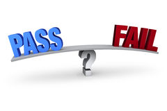 Pass Or Fail?. A bright, blue PASS and a red FAIL sit on opposite ends of a gray board which is balanced on a light gray question mark. Isolated on white royalty free illustration