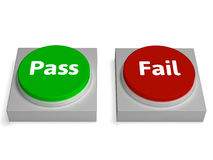Pass Fail Buttons Shows Passed Or Failed Stock Photo