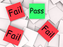 Pass Fail Post-It Notes Mean Approved Or Royalty Free Stock Photo