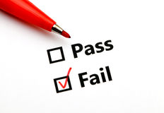 Pass or fail. With red pen royalty free stock photos