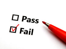 Pass or fail. With red pen stock photo