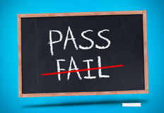 Pass and fail written on blackboard Royalty Free Stock Photos