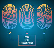 Pass with Fingerprint. Fingerprint scanner with text - Pass with Fingerprint showing three different unique whorled patterns for comparison and identification Stock Photography