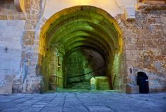 The pass through the fortress wall inside Senglea fortified city Stock Photography