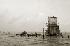 Pass Manchac Lighthouse Ruins. Remains of the Pass Manchac Lighthouse (Louisiana), built in 1857 and listed on the National Register of Historic Places. It was stock images