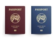 Pass med översikten askfat Realistisk vektorillustration Röda och blåa pass med jordklotet Internationellt ID vektor illustrationer