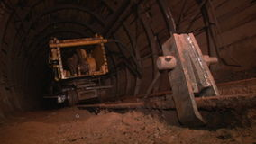 Pass mine with trolley. Underground mine iron ore and coal stock video footage