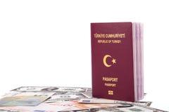 Pass mit Banknoten Stockfoto