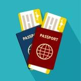 Pass mit der flachen Ikone der Karten lokalisiert international Auch im corel abgehobenen Betrag Stockfotografie