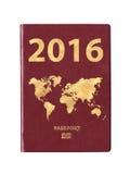 Pass 2016 mit einer Weltkarte auf der Abdeckung Stockfotos
