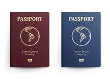 Pass mit Karte 3d sehr schöne dreidimensionale Abbildung, Abbildung Realistische vektorabbildung Rote und blaue Pässe mit Kugel i Stockfotos