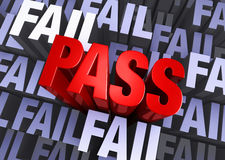 Pass Not Fail. A bold, red PASS emerges from a muted 3d background made up of multiple instances of the word FAIL Stock Image
