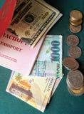 Pass och pengar Arkivbild