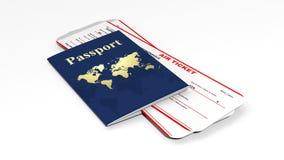 Pass och två flygbiljetter Fotografering för Bildbyråer
