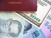 Pass och valutor royaltyfria foton