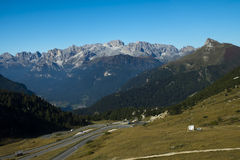 Pass Pordoi from Sass Pordoi, Italy Royalty Free Stock Photo