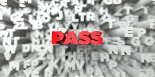 PASS -  Red text on typography background - 3D rendered royalty free stock image Stock Photos