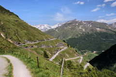 A pass road in the Alps Royalty Free Stock Images
