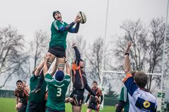 Pass in rugby Stock Photo