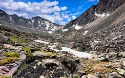 Pass in saddle of  ridge . Eastern Sayan Stock Photo