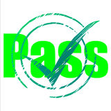 Pass Tick Indicates Yes Passing And Approve Royalty Free Stock Photos
