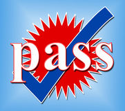 Pass Tick Means Ok Passed And Confirmed Stock Photography