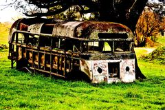 Pass travels. Old bus left in the over the years Royalty Free Stock Images