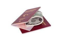 Pass-und Dollar-Geld-Banknoten Stockbilder