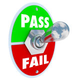 Pass Vs Fail Words Toggle Switch Grade Score Test Exam. Pass Vs Fail words on a toggle switch to illustrate taking a test and getting a grade, review, score or Stock Photography