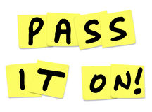 Pass It On Words Yellow Sticky Notes Spread News Stock Photos