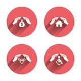 Passa le icone di assicurazione Segno di risparmio dei soldi Immagini Stock
