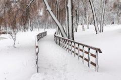 Passadiço de madeira coberto pela neve fotos de stock royalty free