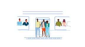 Passagères de personnes de course de mélange dans le griffonnage impétueux de croquis de concept d'heure de tram au fond de trans illustration de vecteur