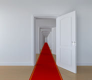 Passage. 3D concept with red carpet in abstract hallway Royalty Free Stock Photo