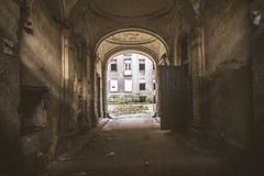 A passage of an abandoned tenant house Stock Photos