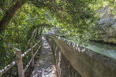 Passage along the river Jucar during autumn, take in Alcala of t Royalty Free Stock Photo