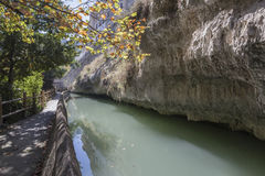 Passage along the river Jucar during autumn, take in Alcala of t Stock Images