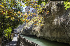 Passage along the river Jucar during autumn, take in Alcala of t Stock Image