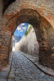 Passage in an ancient stronghold. Fantastic stone passage in an ancient stronghold Stock Photos